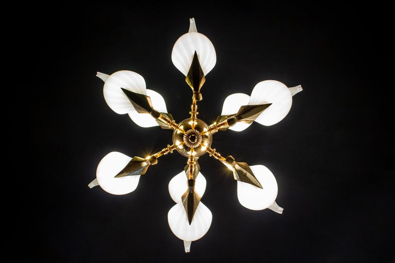 Fantastic Franco Luce for Seguso Murano Glass and Brass Chandelier, 1970s For Sale 5