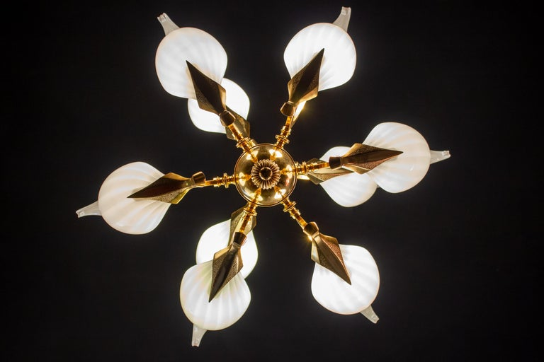 Elegant two-tier chandelier with eight white