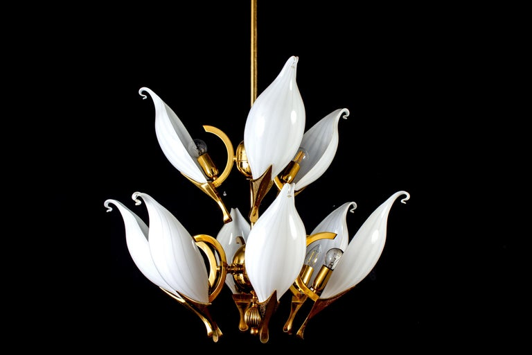 Mid-Century Modern Fantastic Franco Luce for Seguso Murano Glass and Brass Chandelier, 1970s For Sale