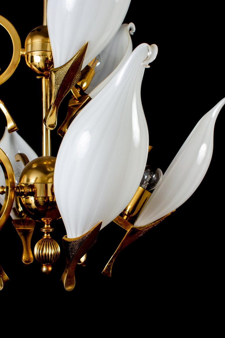 Italian Fantastic Franco Luce for Seguso Murano Glass and Brass Chandelier, 1970s For Sale