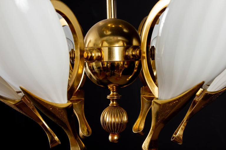 Fantastic Franco Luce for Seguso Murano Glass and Brass Chandelier, 1970s For Sale 2