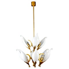 Fantastic Franco Luce for Seguso Murano Glass and Brass Chandelier, 1970s