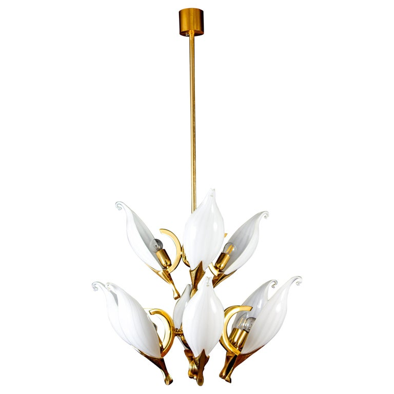 Fantastic Franco Luce for Seguso Murano Glass and Brass Chandelier, 1970s For Sale
