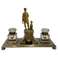 Fantastic Gilt Bronze Brass and Cut Glass Horseman & Hound Dog Desk Inkwell Set