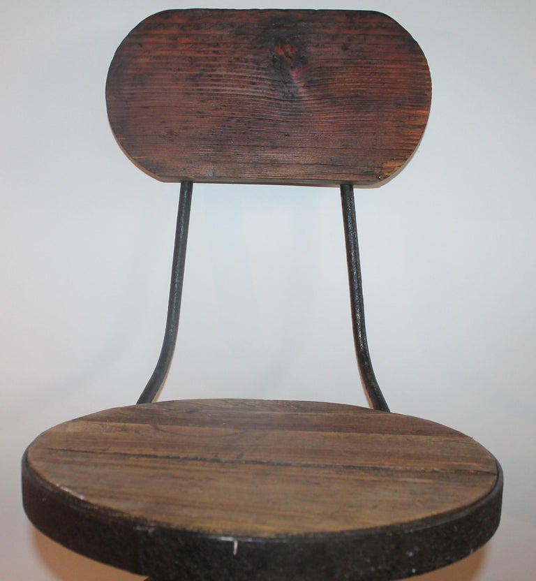 Hand-Painted Fantastic Industrial Architect  Stool For Sale