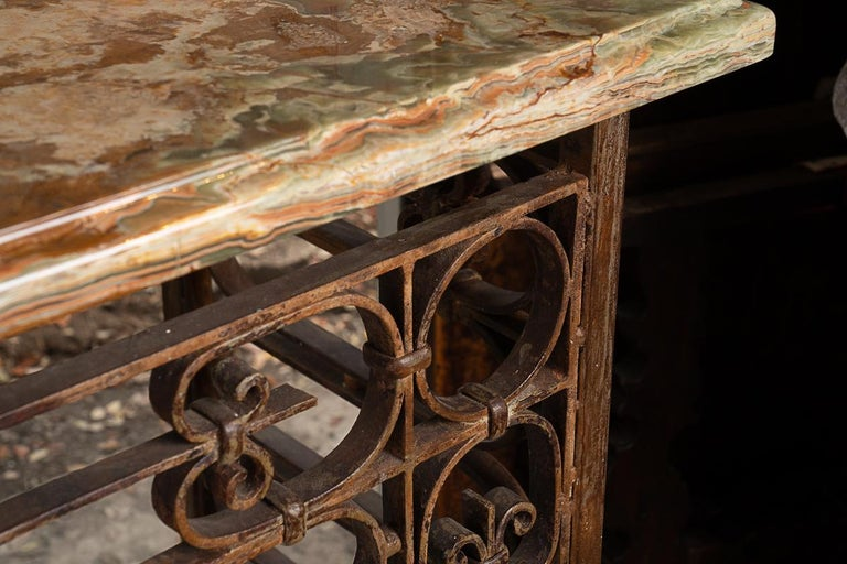Very large iron and marble console perfect for indoor or outdoor decorative furniture. Iron console probably originally a balcony.