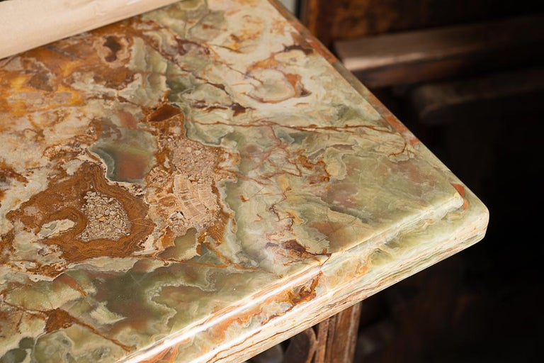 French Fantastic Iron Console with Beautiful Italian Marble For Sale