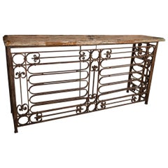 Fantastic Iron Console with Beautiful Italian Marble