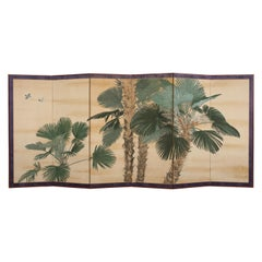 Fantastic Japanese Six-Fold Screen Room-Divider with Painted Palmtrees, Art Deco