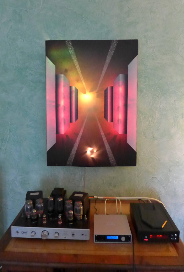 20th Century Fantastic Journey Acrylic on Canvas and Electronic by Alain Bisson, circa 1987 For Sale
