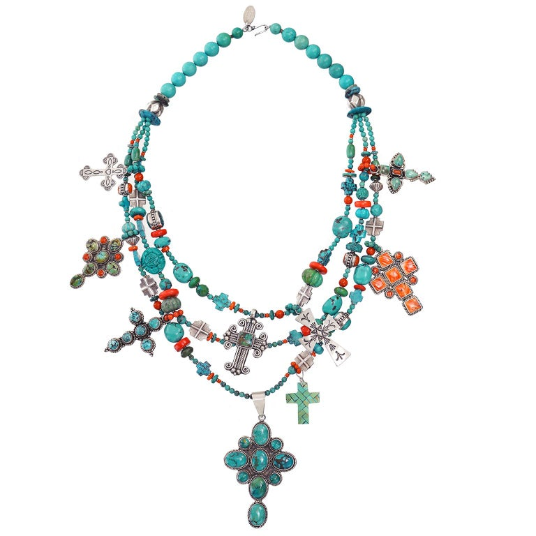 Fantastic Kim Yubeta Turquoise and Coral Necklace For Sale 1