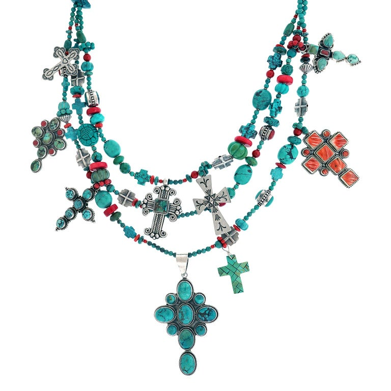 Fantastic Kim Yubeta Turquoise and Coral Necklace For Sale 2