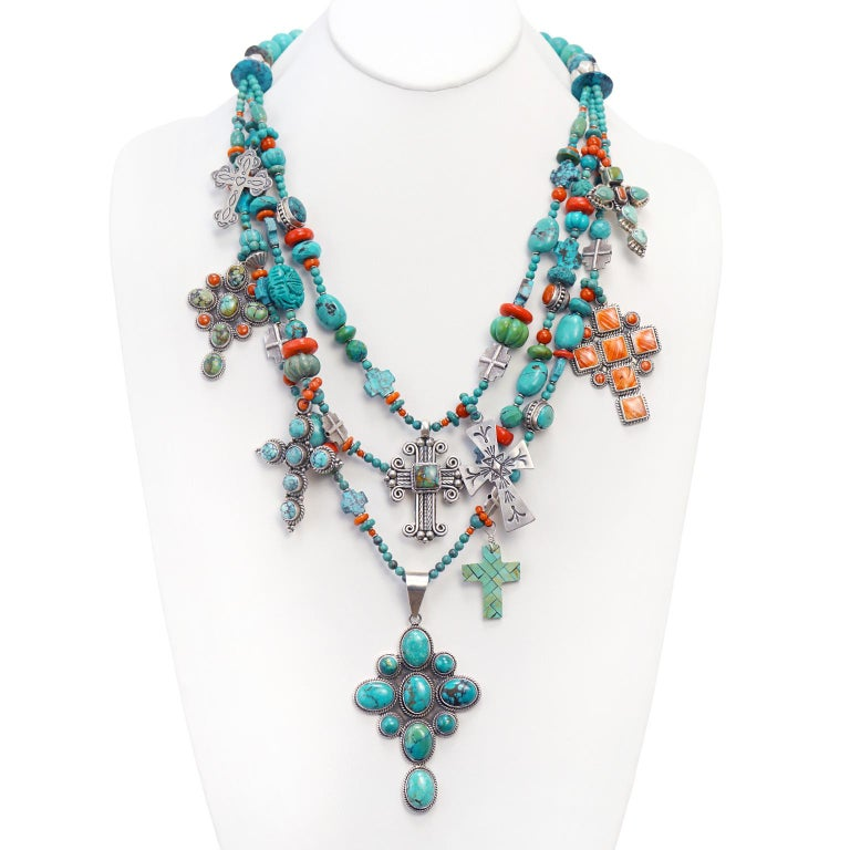 Fantastic Kim Yubeta Turquoise and Coral Necklace For Sale 3