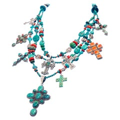 Fantastic Kim Yubeta Turquoise and Coral Necklace
