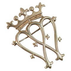 Fantastic Large 9 Carat Gold Two Hearts and Crown Brooch