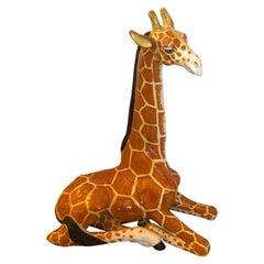 Fantastic Large Whimsical Italian Terracotta Handcrafted Giraffe Sculpture