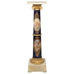 Fantastic Late 19th Century Gilt Bronze Mounted Onyx and Sèvres Style Pedestal