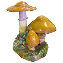Fantastic Mid-Century Modern Painted Ceramic Mushroom Pottery Group Sculpture