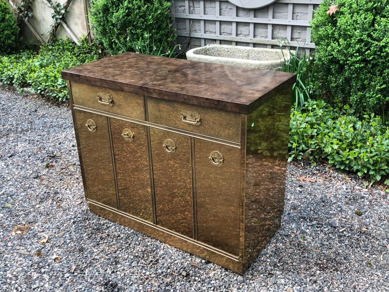 Fantastic Mid-Century Modern Rare Mastercraft Brass Clad Bar and Cabinet For Sale 5