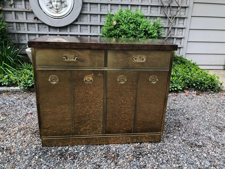 American Fantastic Mid-Century Modern Rare Mastercraft Brass Clad Bar and Cabinet For Sale