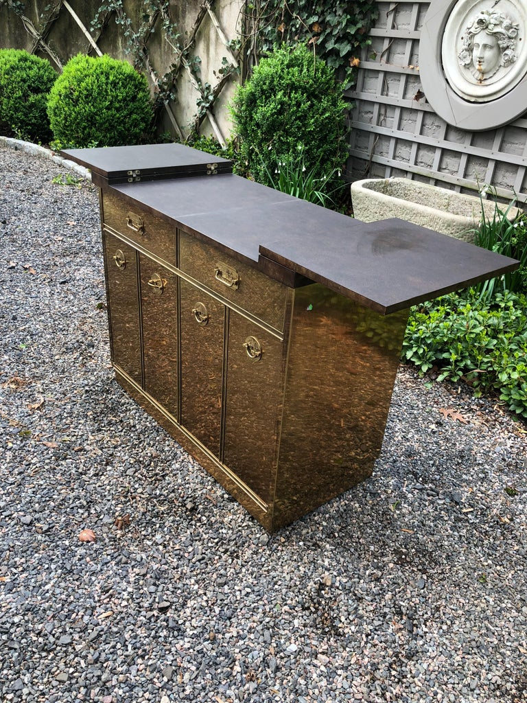 Fantastic Mid-Century Modern Rare Mastercraft Brass Clad Bar and Cabinet In Excellent Condition For Sale In Hopewell, NJ