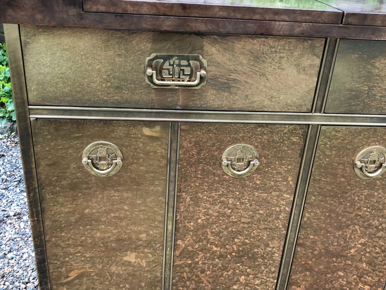 Fantastic Mid-Century Modern Rare Mastercraft Brass Clad Bar and Cabinet For Sale 3