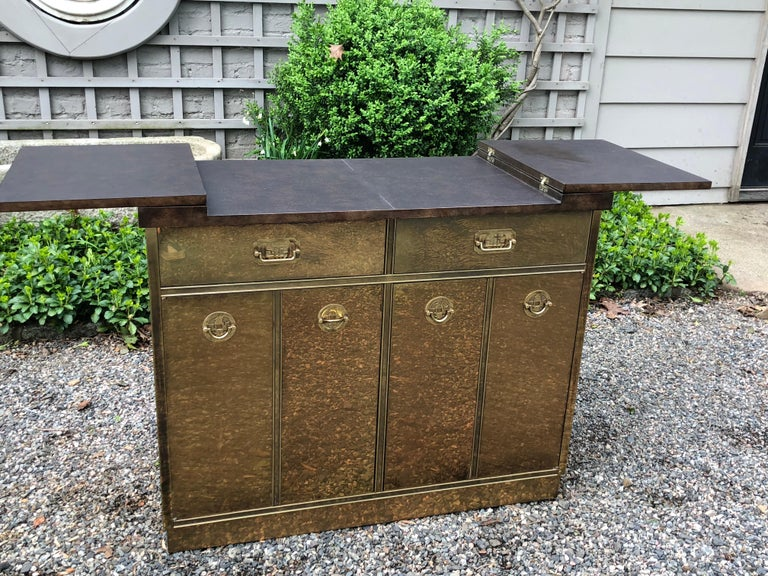 Fantastic Mid-Century Modern Rare Mastercraft Brass Clad Bar and Cabinet For Sale 4