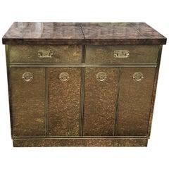 Fantastic Mid-Century Modern Rare Mastercraft Brass Clad Bar and Cabinet