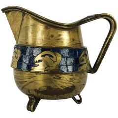 Fantastic Mosaic and Brass Pitcher by Salvador Teran