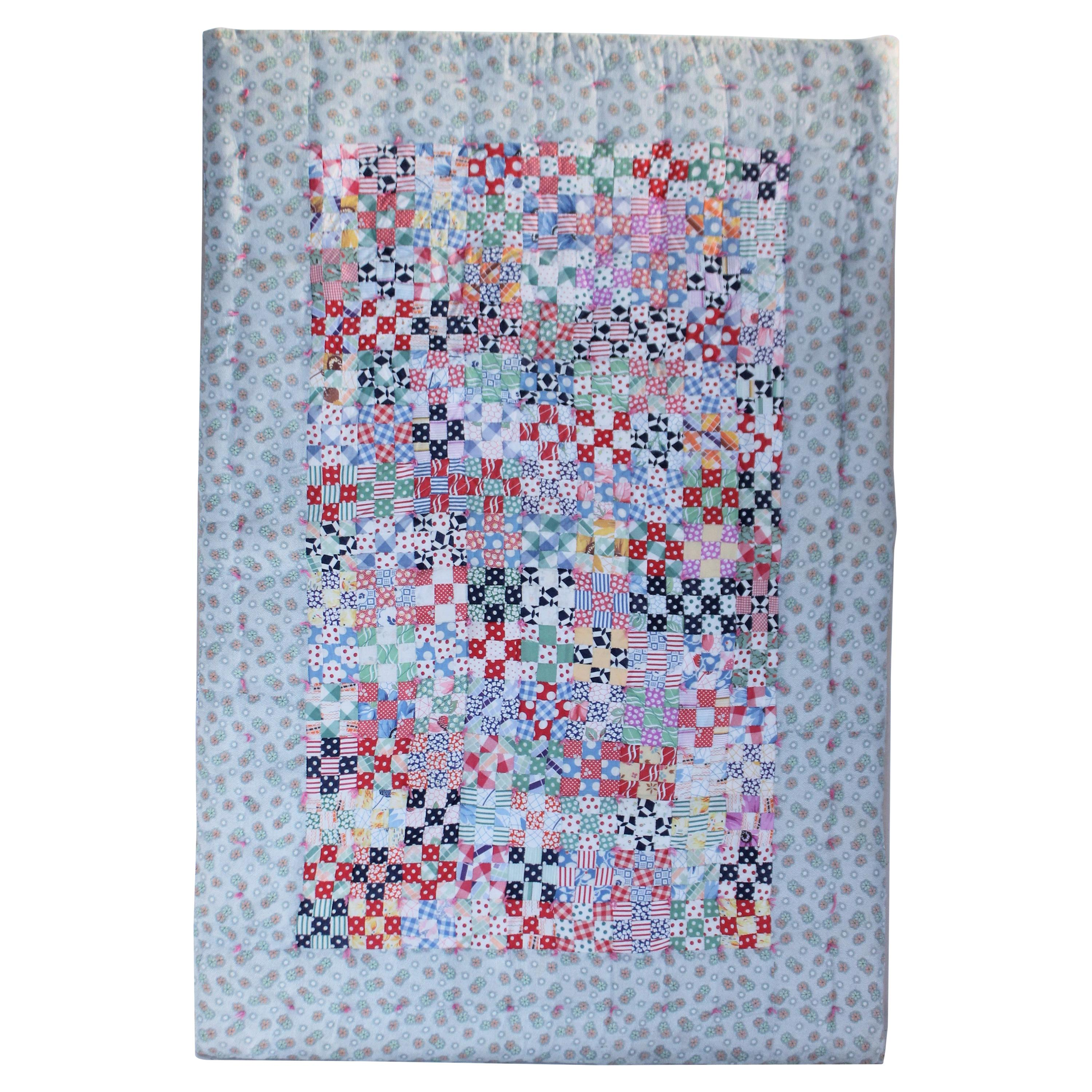 Fantastic Mounted Postage Stamp Crib Quilt from Pennsylvania