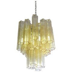 Fantastic Murano Clear Amber / Gold 30 Glass Tube Chandelier, Venini Style