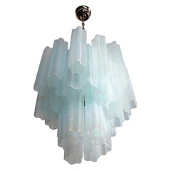 Fantastic Murano Glass Tube Chandelier, 30 Glass Opal Silk