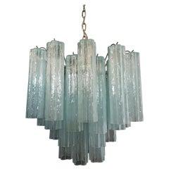 Fantastic Murano Glass Tube Chandelier, 36 Opal Silk Glass Tube