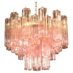 Fantastic Murano Glass Tube Chandelier, 36 Pink Glass Tube