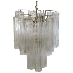 Fantastic Murano Glass Tube Chandelier, Venini Style