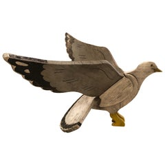 Fantastic Nantucket Hand Carved and Painted Folk Art Seagull Sculpture