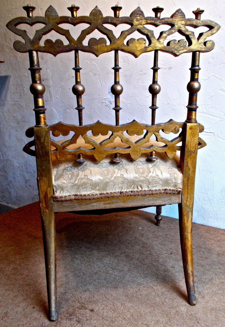French Fantastic Napoleon III Orientalist Painted Slipper Chair, France, 1850s For Sale