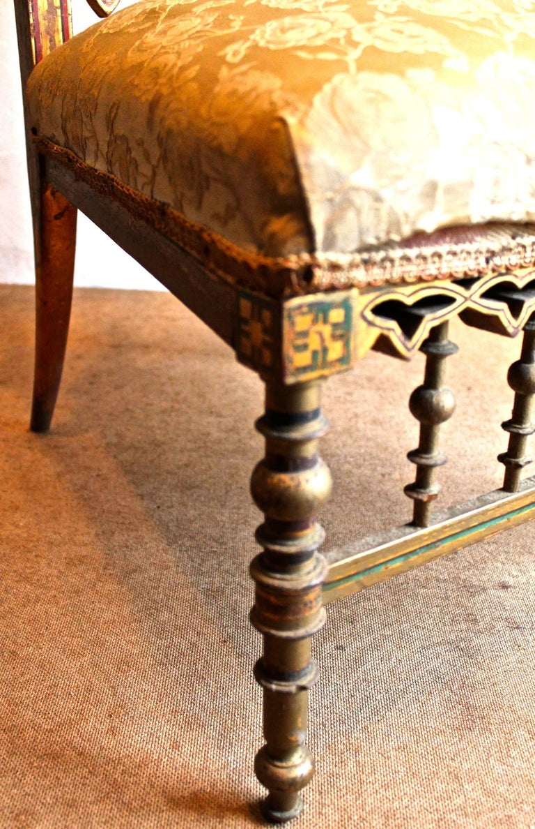 19th Century Fantastic Napoleon III Orientalist Painted Slipper Chair, France, 1850s For Sale