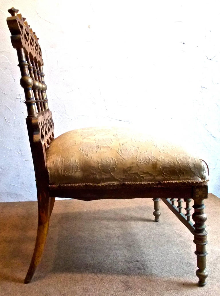 Fantastic Napoleon III Orientalist Painted Slipper Chair, France, 1850s For Sale 2