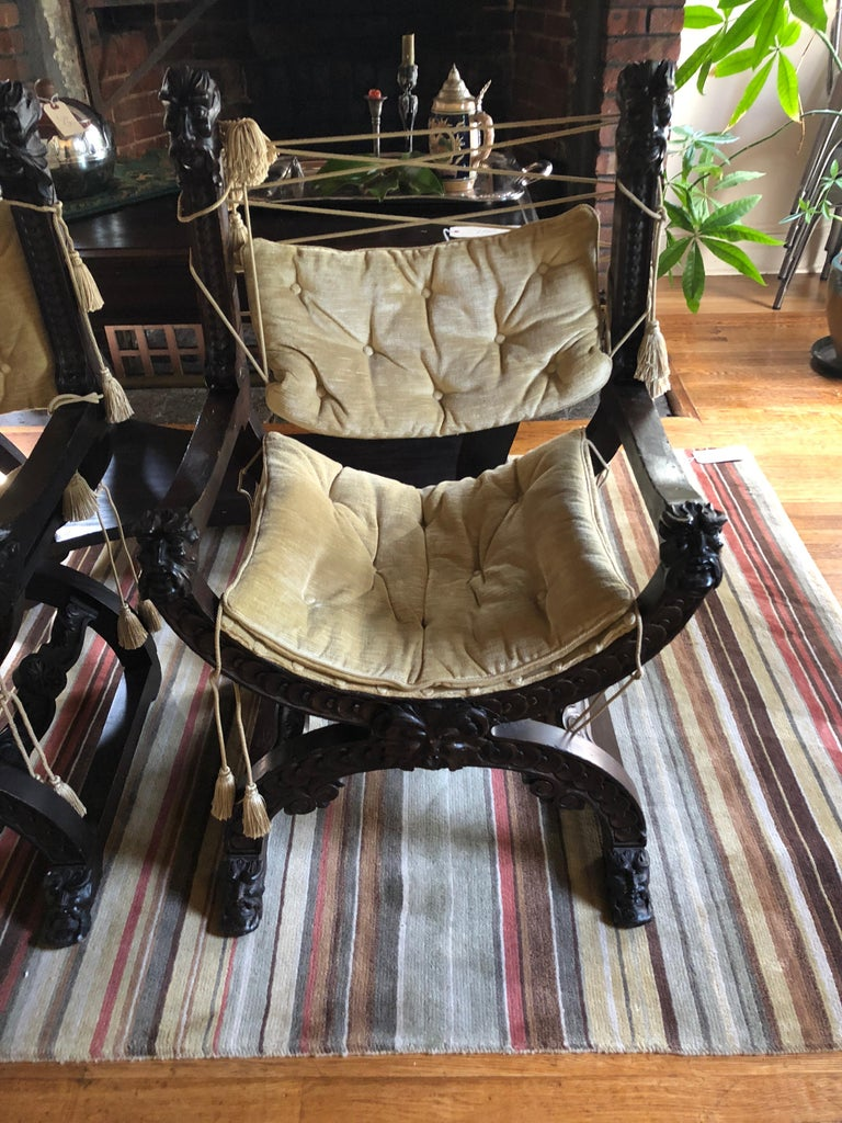 Renaissance Fantastic Ornately Carved Pair of Savaranola Club Chairs Armchairs For Sale