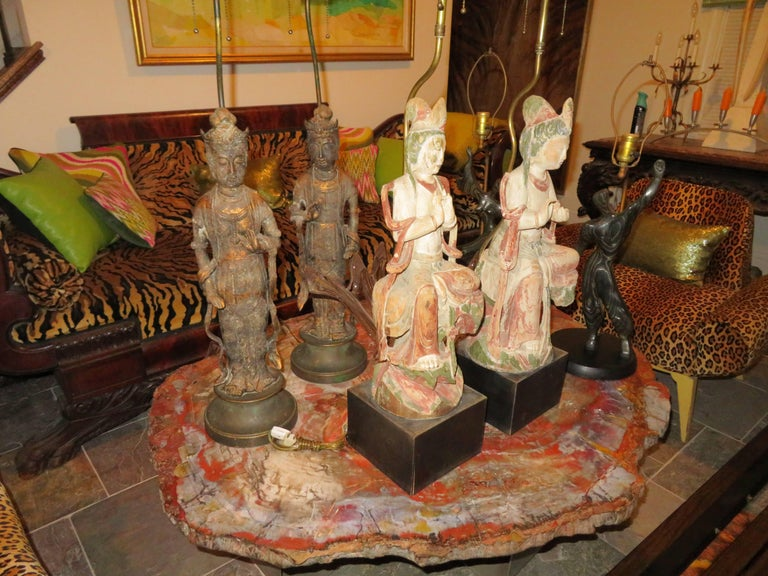 Fantastic Pair of James Mont Style Asian Figural Buddha Lamps Mid-Century Modern For Sale 4