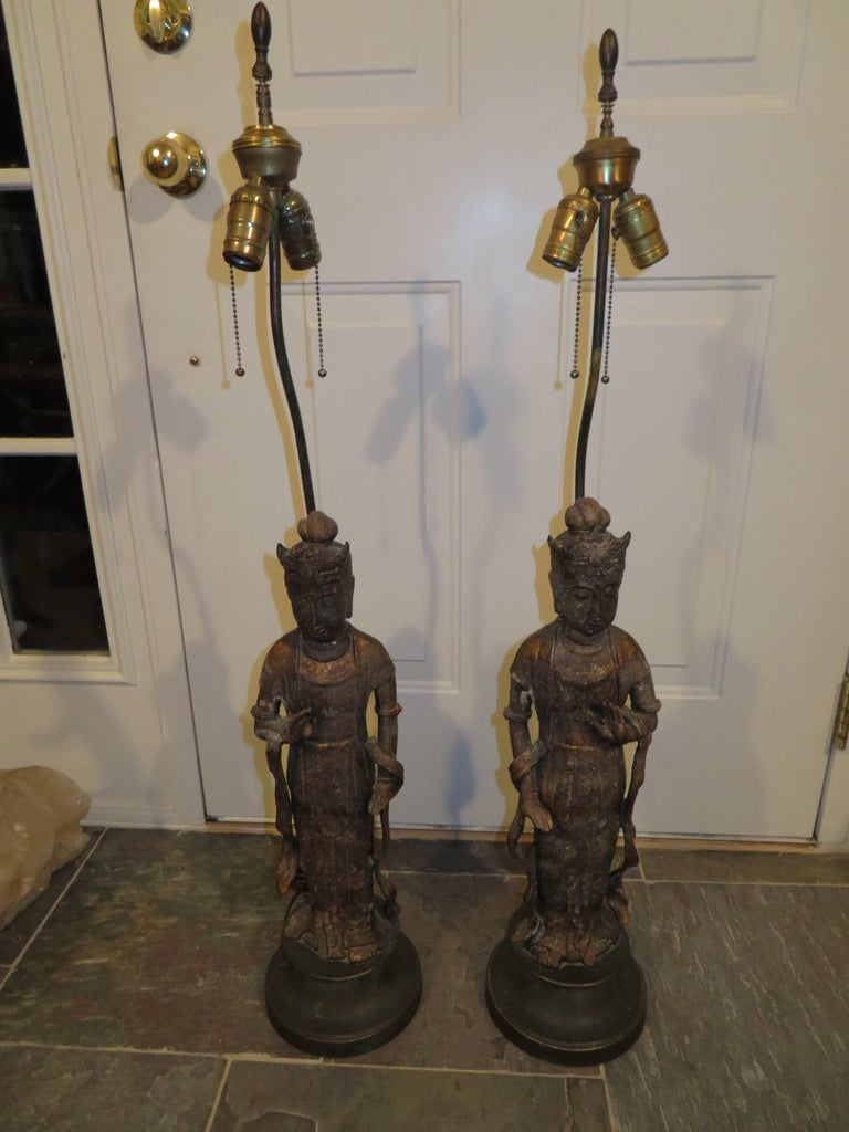 Fantastic Pair of James Mont Style Asian Figural Buddha Lamps Mid-Century Modern For Sale 2