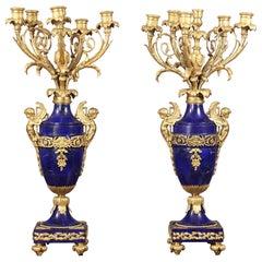 Fantastic Pair of Late 19th Century Gilt Bronze and Lapis Lazuli Candelabra
