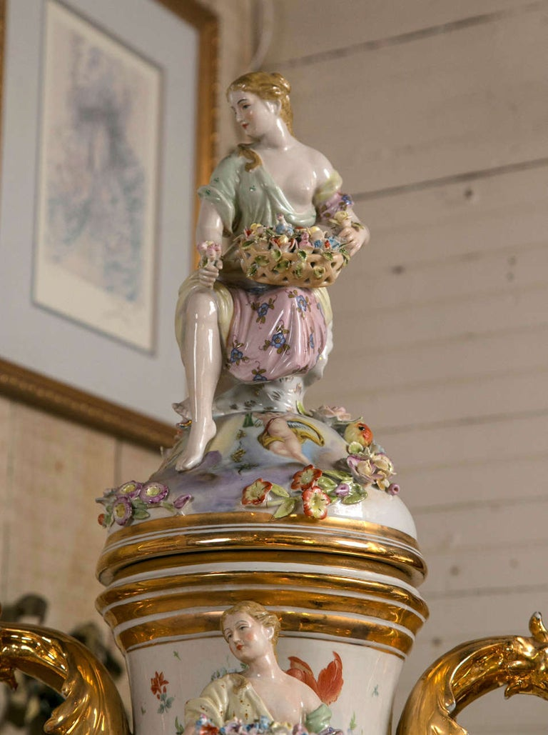 Rococo Fantastic Pair of Meissen Style Covered Urns For Sale