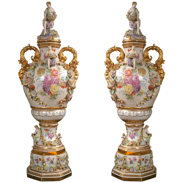 Fantastic Pair of Meissen Style Covered Urns For Sale