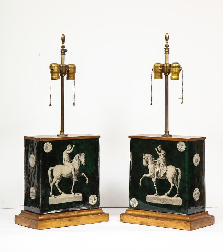 Fantastic Pair of Midcentury Italian Green Molded Glass Lamps, Fornasetti For Sale 7