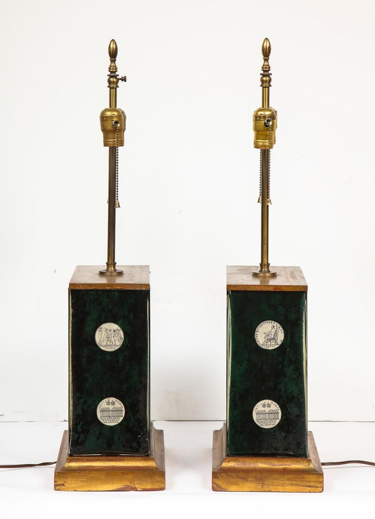 Fantastic Pair of Midcentury Italian Green Molded Glass Lamps, Fornasetti For Sale 8