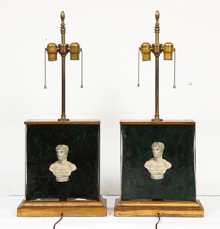Fantastic Pair of Midcentury Italian Green Molded Glass Lamps, Fornasetti For Sale 10
