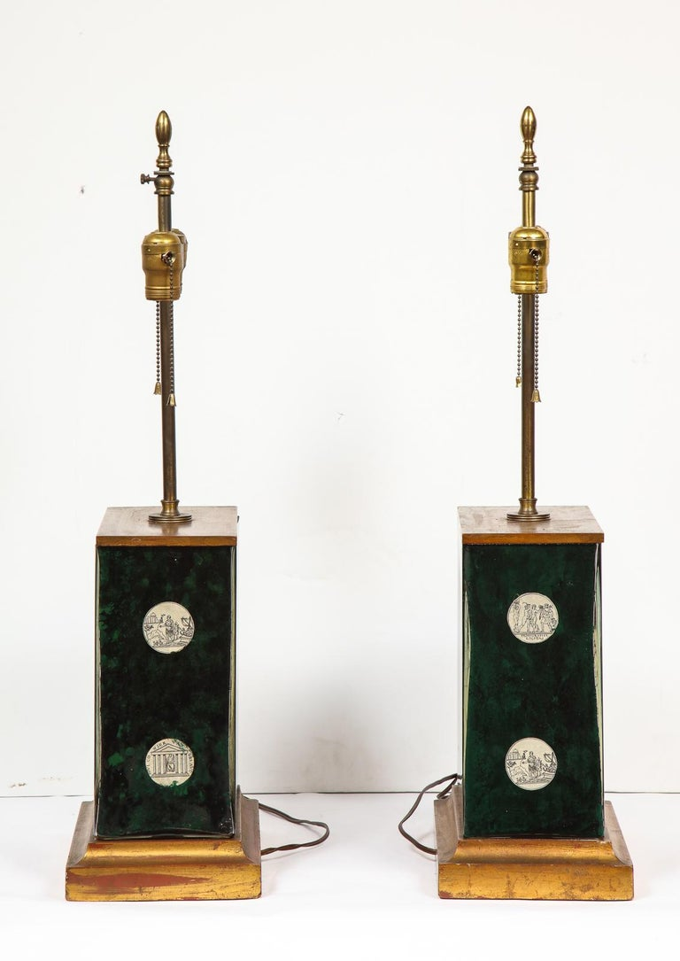 Fantastic Pair of Midcentury Italian Green Molded Glass Lamps, Fornasetti For Sale 13