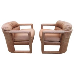 Fantastic Pair of Milo Baughman Style Upholstered Lounge Chairs, Midcentury